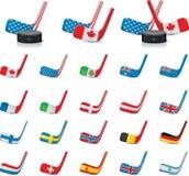 2 kraju flaga hokeja lodu część kijów wektor Obraz Royalty Free