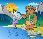 2 kreskówek rybaka jezioro Zdjęcia Royalty Free