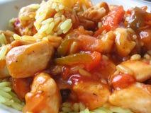 2 kurczaków słodkie ryżowy żółty fotografia stock