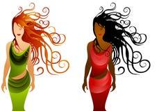 2 långa kvinnor för modehår Arkivfoto