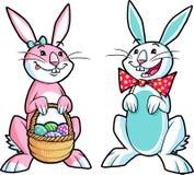 2 lapins de Pâques Illustration de Vecteur