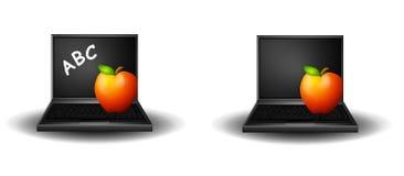 2 laptopów czerwone jabłko posiedzenia ilustracji