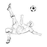 2 lineart gracza piłka nożna ilustracja wektor