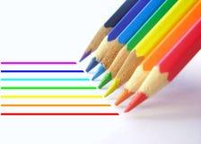 2 linjer blyertspenna Arkivbild