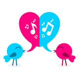 2 love bird with speech bubble in shape of heart Stock Photo