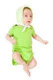 2 maandbaby in groen Royalty-vrije Stock Foto
