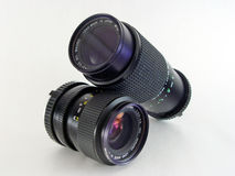 2 macro lens isolated. Isolated macro lenses Stock Photography