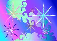2 magiska snowflakes royaltyfri illustrationer