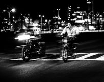 2 Man Riding Motorcycle Grayscale Photography Royalty Free Stock Images