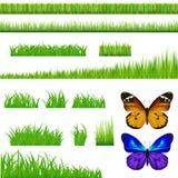 2 mariposas y conjunto de la hierba verde. Vector ilustración del vector