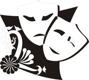 2 masks. Black and white masks with happy and sad expressions floral elements Stock Images