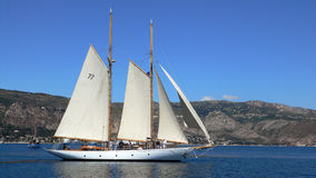 2 mast yacht. Two mast classic sailing yacht in a bay un a light breeze Royalty Free Stock Image