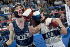 2 Men Boxing on Ring Royalty Free Stock Photography