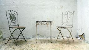 2 metal chair waiting lover Stock Photography