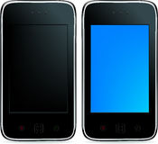 2 Mobile Phones. Vector. 2 Mobile Phones Or Smartphones With Touchpades And Buttons, Isolated On White Stock Photos