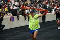 2? Momentos clássicos da maratona de Atenas Fotografia de Stock