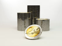 2 monedas de los euros Fotos de archivo libres de regalías