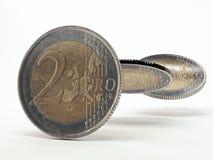 2 monedas de los euros Imágenes de archivo libres de regalías