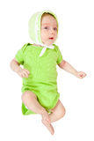 2 month  baby in green Royalty Free Stock Photo