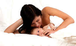 2 month boy with mother Stock Photos