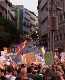 2 mot madrid popeprotest Arkivfoto