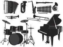 2 musikaliska silhouettes Royaltyfri Foto