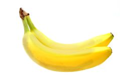 2 nanas. Two bananas on a white background Royalty Free Stock Image