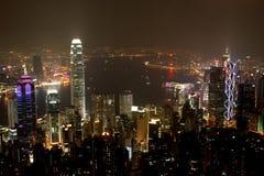 2 nocy scena Hong kongu Obrazy Stock