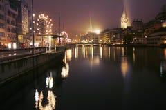 2 nuit Zurich Photo libre de droits
