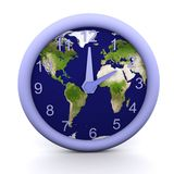 2 oclock. 3d rendered clock showing the time with earth background Stock Photos