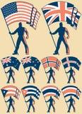 2 okazicieli flaga Fotografia Stock