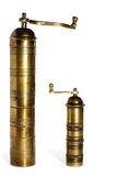 2 old brass pepper pots Stock Images