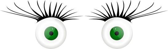 2 olhos de vidro com pestanas Foto de Stock