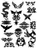 2 olika drakar tatuerar stam- Arkivbild