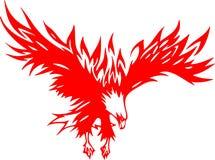 2 orła atacking płomień ilustracja wektor
