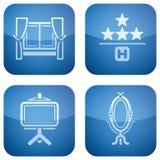 2.os ajustado iconos del cobalto fijados: Hotel Foto de archivo libre de regalías