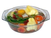 2 owoców opłukującego warzywa Zdjęcia Stock