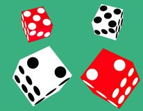 2 pairs of floating dice. Illustration of 2 sets of dice, bouncing with 7 in total coming up Royalty Free Stock Image