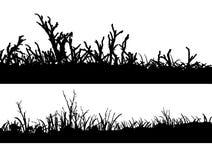 2 paisajes en silueta stock de ilustración