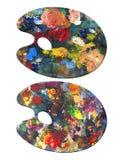 2 palettes de peintre Images stock