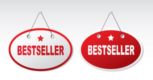 2 panels with text - best seller. 2 panels with text - best seller on a gray background Stock Photo