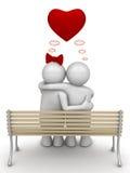 2 par som omfamnar att tänka för förälskelse Arkivfoton