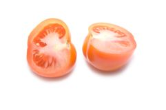 2 parts de tomate Photographie stock