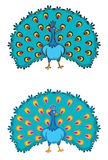 2 peacocks. Cartoon illustration art Royalty Free Stock Photo