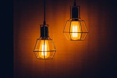 2 Pendant Lamps Turned on Royalty Free Stock Images