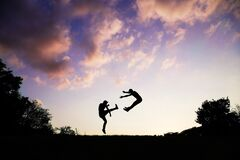 2 People Doing Karate during Sunset Stock Photography