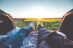 2 People Sitting With View of Yellow Flowers during Daytime Royalty Free Stock Photography