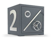 2 percent deposit bank safe. Deposit bank safe with title 2 percent Royalty Free Stock Photo