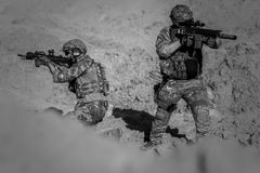 2 Person in Army Suit Grayscale Photography Stock Photo