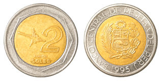 2 Peruvian nuevo sol coin Stock Photos